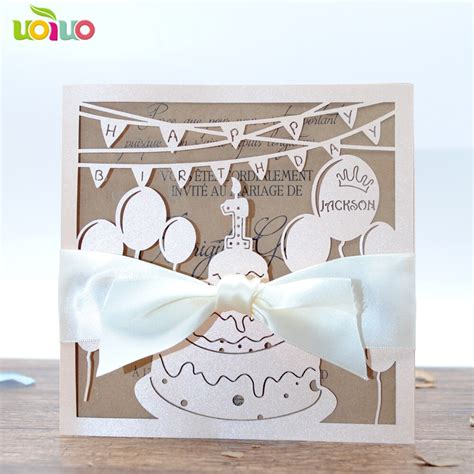 New arrival nice laser cut happy birthday party invitation