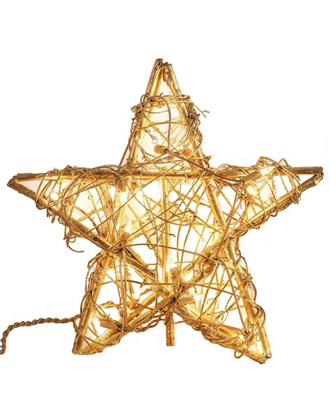 gold rattan star christmas tree topper treetopia