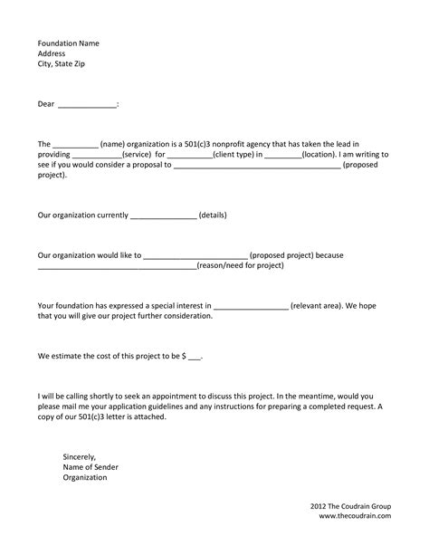 letter  intent template  grant funding request