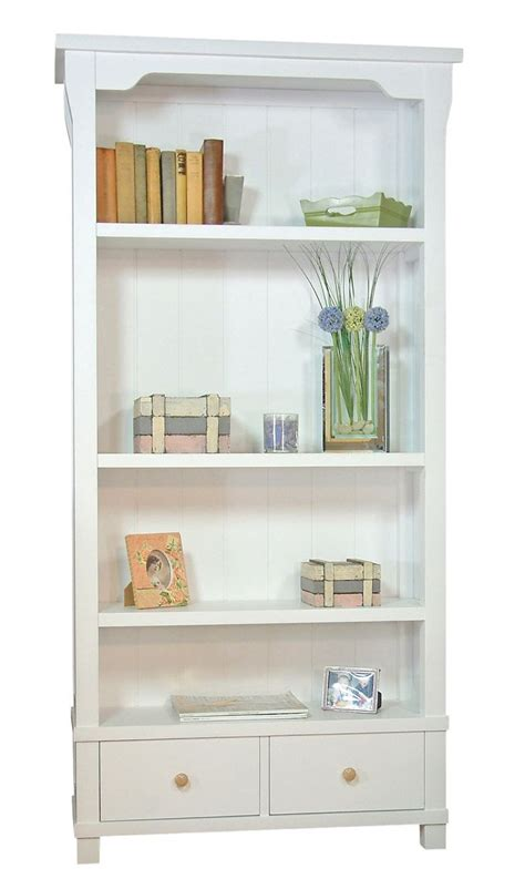 country bookcases country white solid wood bookcase with two drawers home