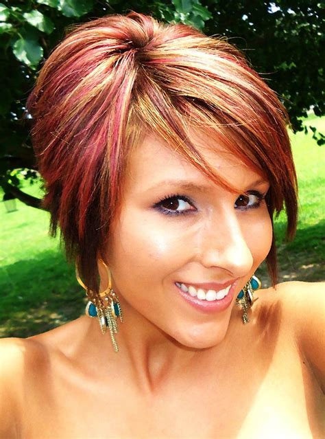 short boblong pixie red highlights     color