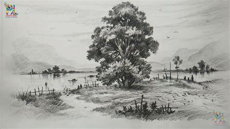 draw  shade  tree   beautiful landscape