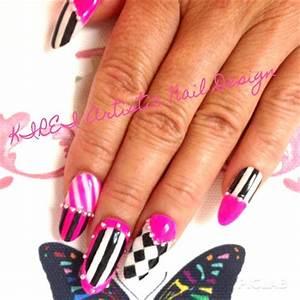 Pink Neon & Strips false nail Nail Art Gallery