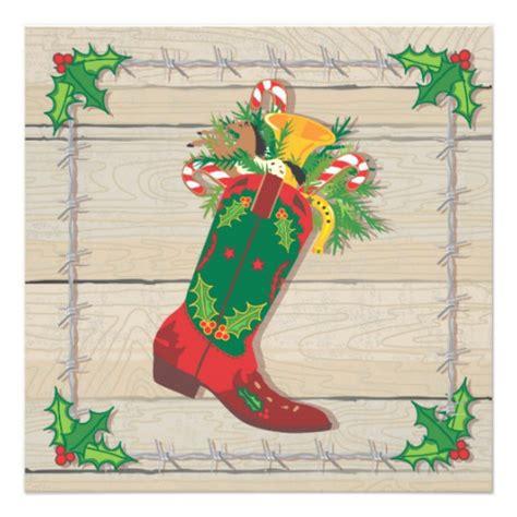 cowboy christmas party invitations 5 25 quot square invitation