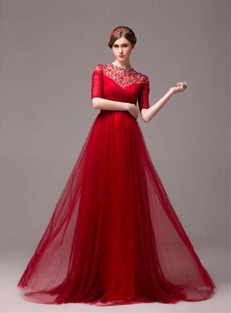 formal long evening dress  sleeve beading evening