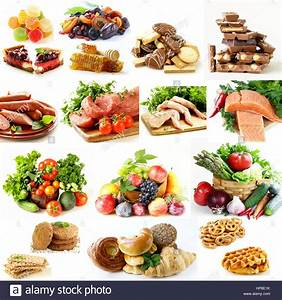Collage  Set Food Pyramid  Healthy Eating Diet Stock Photo