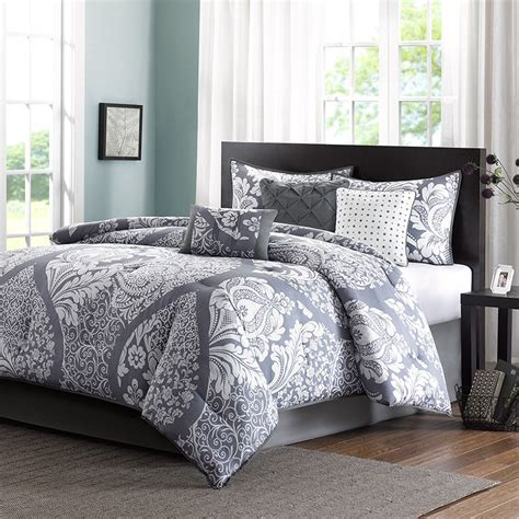 Gray White Bed Bag Luxury 7pc Comforter Set Cal King Queen