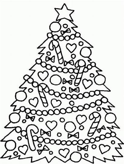 Coloring Christmas Tree Pages Trees Easy Drawing