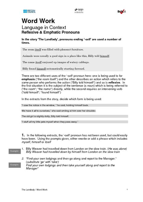 reflexive and emphatic pronouns worksheet for 7th grade