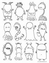 Halloween Coloring Monsters Monster Printable Drawing Colouring Scary Children Draw Sheet Colour Faces Activity Kid sketch template