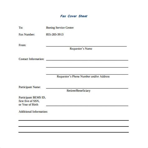 basic fax cover sheet   samples examples formats