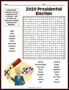 presidential election word search worksheet activity