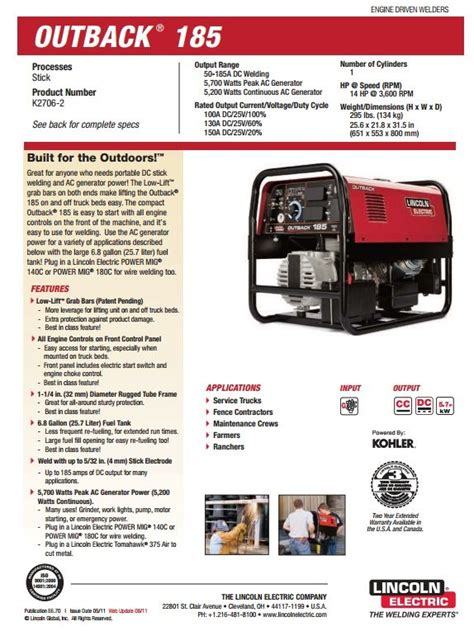 lincoln outback  engine welder generator  sale