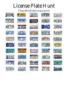 Road Trip License Plate Scavenger Hunt Printable