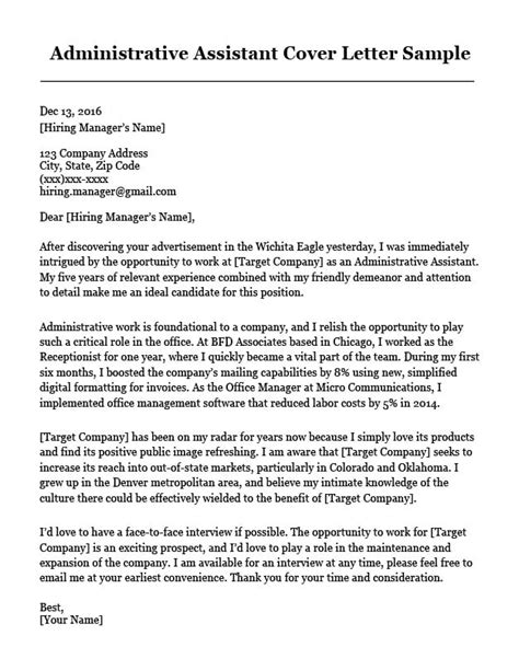 Cover Letter Administrative Assistant Template by Administrative Assistant Cover Letter Sle Resume