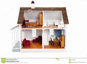 Child's Doll House With Furniture On White Stock Photo