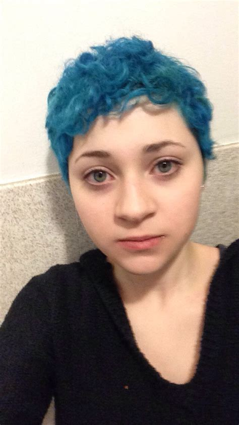 dyed  short curly hair blue    quality
