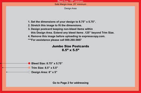 Jumbo Postcard Template by Postcard Specifications Postcard Postal Regulations