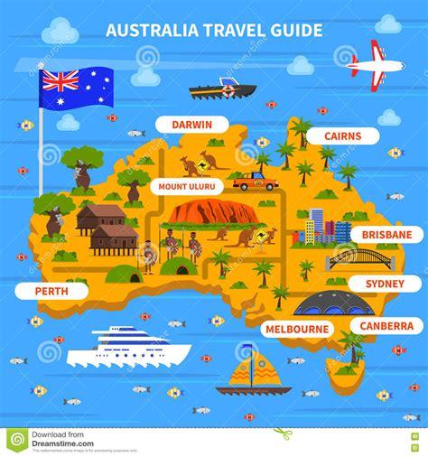 australia tourism bureau australia travel guide illustration stock illustration