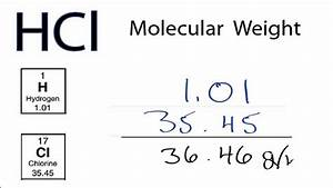 Hcl Molecular Weight  How To Find The Molar Mass Of Hcl