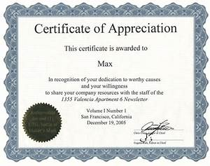 certificate of appreciation template word With template for a certificate of appreciation