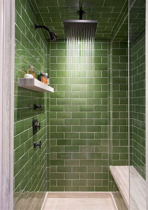 Green Bathroom Tile Ideas by Walk In Shower Boasts Green Subway Tiled Surround And