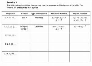 Arithmetic Sequence Worksheets Pdf