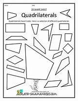 Math Geometry Quadrilaterals Worksheets Grade Salamanders Worksheet Shapes Printable Clip Classifying Cut Sort Mathematics Shape Activity Types Teaching Outs 4th sketch template