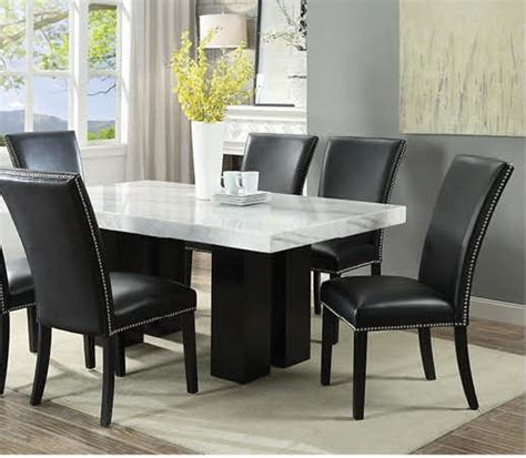 Black Dining Room Sets by White Marble Dining Room Set With 4 Black Chairs