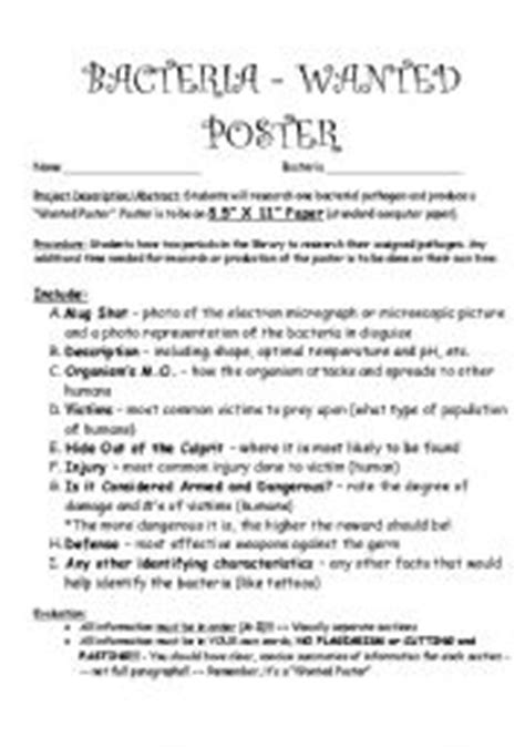 English Worksheets Bacteria Project