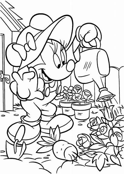 Coloring Garden Pages Gardening Minnie Mouse Vegetable