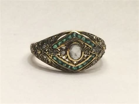 vintage deco and emerald ring unique engagement ring 9k gold april birthstone