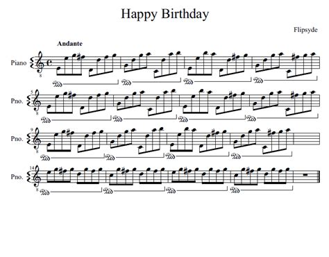 Free piano sheet music arranged by julie a. Flipsyde - Happy Birthday sheet music for piano download | Piano.Easy SKU PEA0012948 at note ...