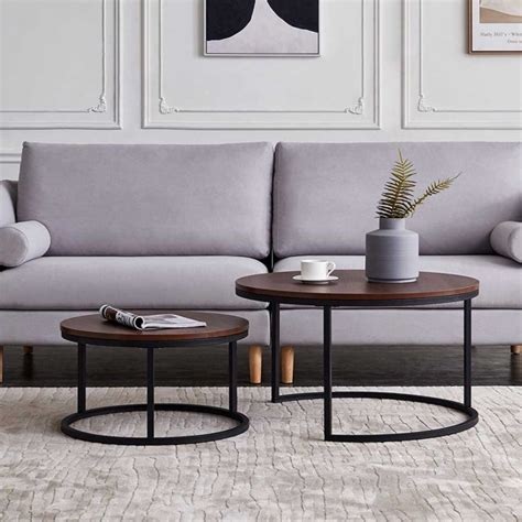 These black wood coffee tables are offered in various shapes and sizes ranging from trendy to classic ones. Hommoo Modern Round Nesting Coffee Accent Table for Living Room, Wooden & Black - Walmart.com ...