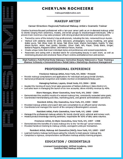 Cosmetology Resume Sles by If You Are An Artist And You Need To Make A Resume You