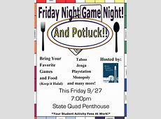 Friday Night Game Night and Potluck!