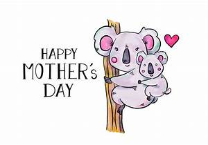 Cute Koala Mom And Son In Tree With Lettering To Mother's ...
