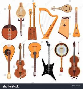 Set Stringed Musical Instruments Classical Orchestra Stock ...