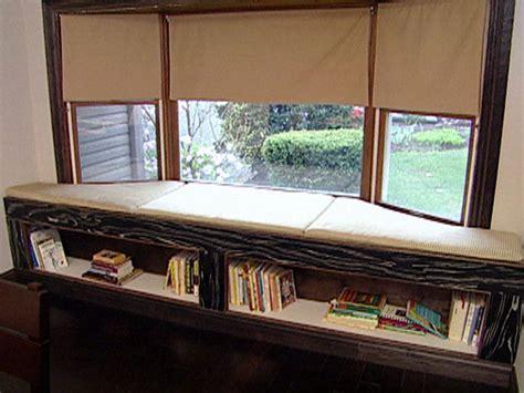 Window Bench Design by Cushioned Window Bench And Bookshelf Hgtv