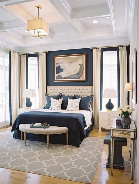 Decorating Ideas Navy Blue Walls by 10 Beautiful Bedrooms With Coffered Ceilings Navy Blue