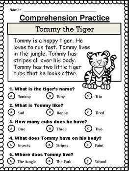 reading comprehension stories multiple choice