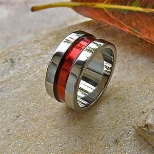 Firefighter39s thin red line titanium wedding band for Thin red line wedding ring