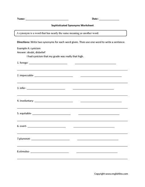 synonym practice worksheets high school synonym best