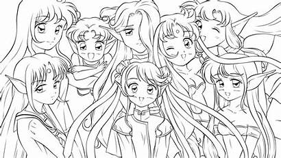 Coloring Anime Pages Friends Template Princess Lineart