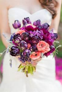 Dark Purple and Coral Wedding Bouquet | Tulle & Chantilly ...