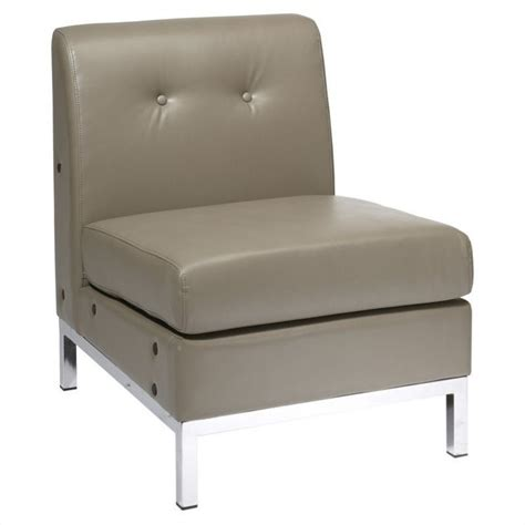 faux leather tufted slipper chair in gray wst51n u22