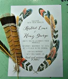 bohemian wedding invitations feather wedding print at With wedding invitations you can print at home