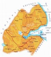 Detailed road and physical map of Djibouti. Djibouti ...