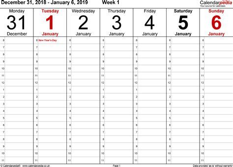 weekly calendar uk printable templates