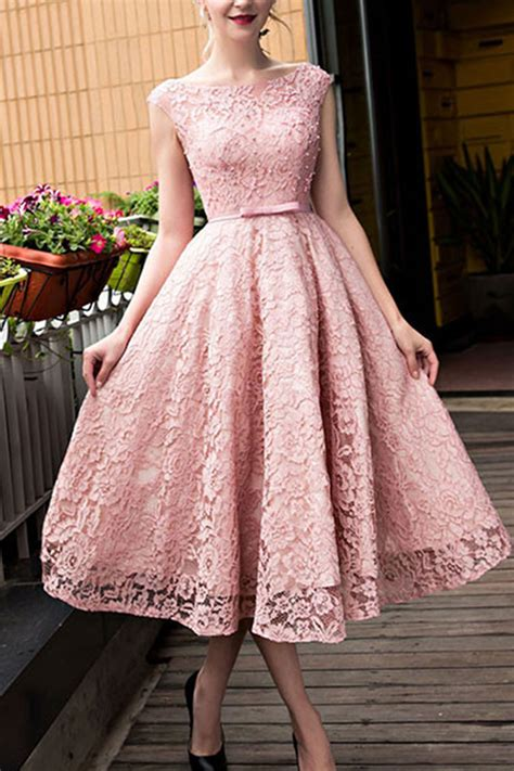 lace prom dress fashion prom dress cute pink lace short